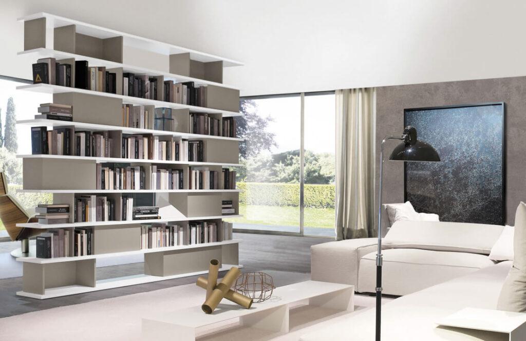 Dividere un ambiente con le librerie, Zalf e Bassi Arredamenti